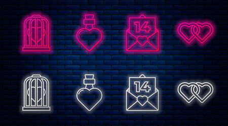 Set line Bottle with love potion, Envelope with Valentine heart, Heart in the bird cage and Two Linked Hearts. Glowing neon icon on brick wall. Vector