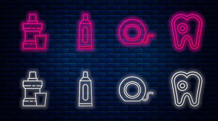 Set line Tube of toothpaste, Dental floss, Mouthwash plastic bottle and Tooth with caries. Glowing neon icon on brick wall. Vector