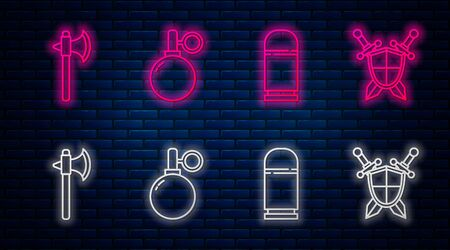 Set line Hand grenade, Cartridges, Medieval axe and Medieval shield with crossed swords. Glowing neon icon on brick wall. Vector