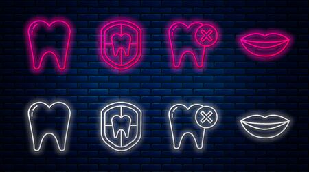 Set line Dental protection, Tooth with caries, Tooth and Smiling lips. Glowing neon icon on brick wall. Vector