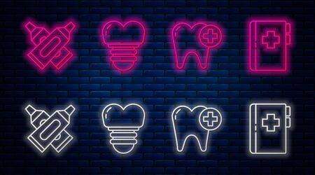 Set line Dental implant, Tooth, Crossed tube of toothpaste and Clipboard with dental card. Glowing neon icon on brick wall. Vector Ilustração