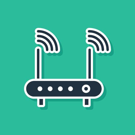 Blue Router and wifi signal symbol icon isolated on green background.