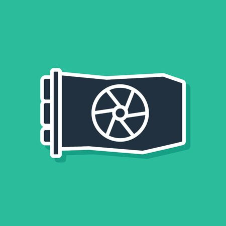 Blue Video graphic card icon isolated on green background.  Vector Illustration