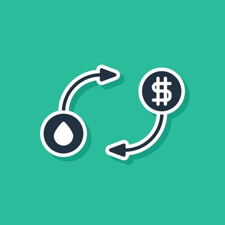 Blue Oil exchange, water transfer, convert icon isolated on green background.  Vector Illustration
