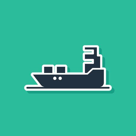 Blue Oil tanker ship icon isolated on green background. Vector Illustration
