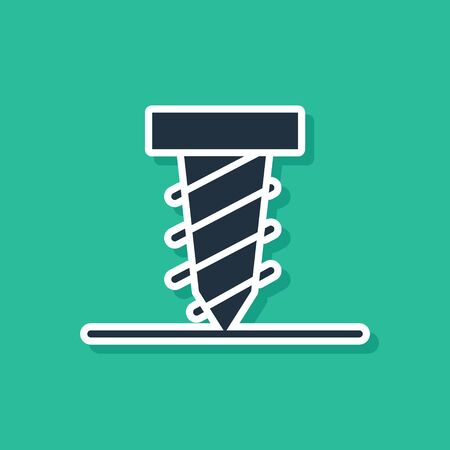 Blue Rotating drill digging a hole in a ground icon isolated on green background. Vector Illustration Ilustração