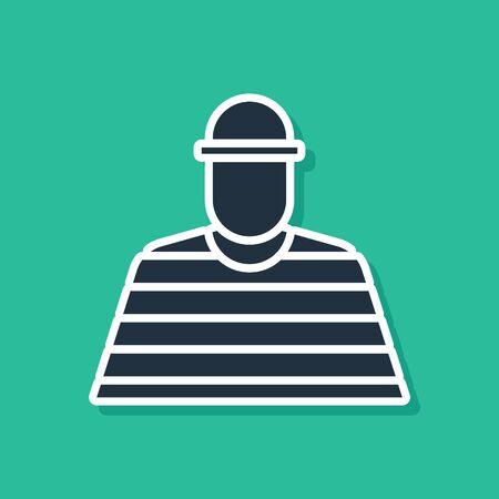 Blue Prisoner icon isolated on green background.  Vector Illustration Illustration