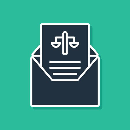 Blue Subpoena icon isolated on green background. The arrest warrant, police report, subpoena. Justice concept. Vector Illustration