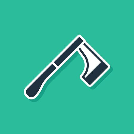 Blue Wooden axe icon isolated on green background. Lumberjack axe. Vector Illustration