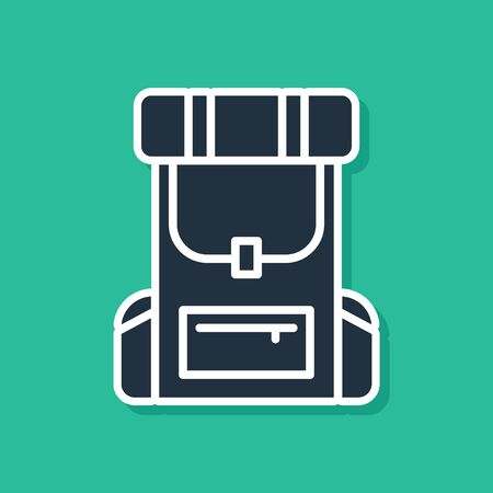 Blue Hiking backpack icon isolated on green background. Camping and mountain exploring backpack. Vector Illustration