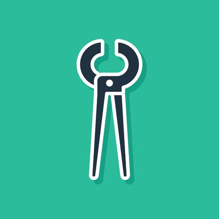 Blue Pincers and pliers icon isolated on green background. Pincers work industry mechanical plumbing tool. Vector Illustration