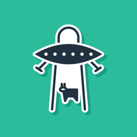 Blue UFO abducts cow icon isolated on green background. Flying saucer. Alien space ship. Futuristic unknown flying object. Vector Illustration