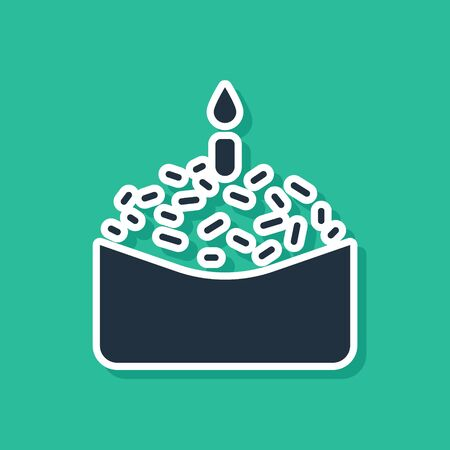 Blue Easter cake and candle icon isolated on green background. Happy Easter. Vector Illustration