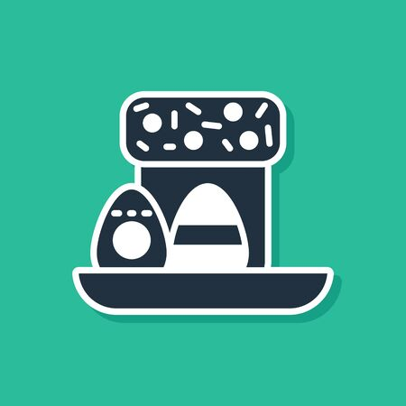 Blue Easter cake and eggs icon isolated on green background. Happy Easter. Vector Illustration