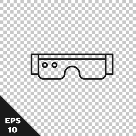 Black line Smart glasses mounted on spectacles icon isolated on transparent background. Wearable electronics smart glasses with camera and display. Vector Illustration