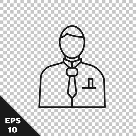 Black line Businessman or stock market trader icon isolated on transparent background. Vector Illustration