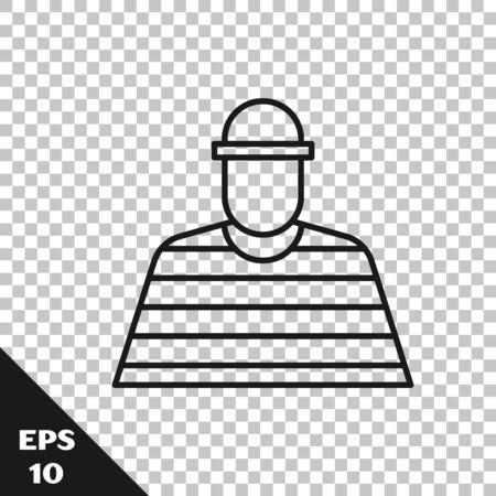 Black line Prisoner icon isolated on transparent background. Vector Illustration