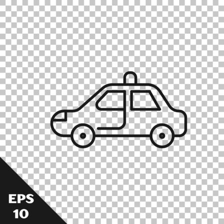 Black line Police car and police flasher icon isolated on transparent background. Emergency flashing siren. Vector Illustration