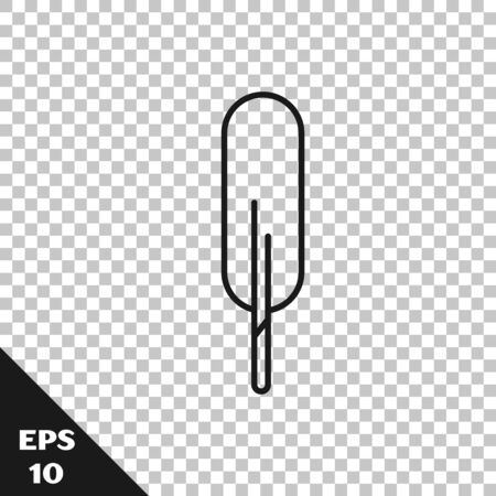Black line Feather pen icon isolated on transparent background. Vector Illustration