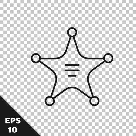 Black line Hexagram sheriff icon isolated on transparent background. Police badge icon. Vector Illustration