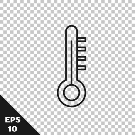 Black line Meteorology thermometer measuring icon isolated on transparent background. Thermometer equipment showing hot or cold weather. Vector Illustration