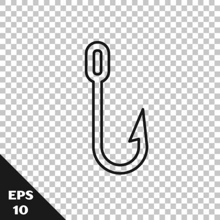 Black line Fishing hook icon isolated on transparent background. Fishing tackle. Vector Illustration