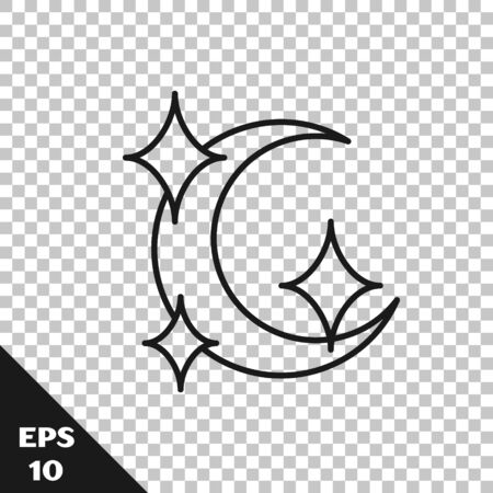 Black line Moon and stars icon isolated on transparent background. Vector Illustration 向量圖像