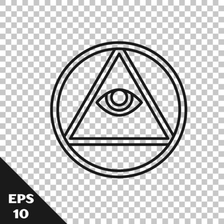 Black line Masons symbol All-seeing eye of God icon isolated on transparent background. The eye of Providence in the triangle. Vector Illustration