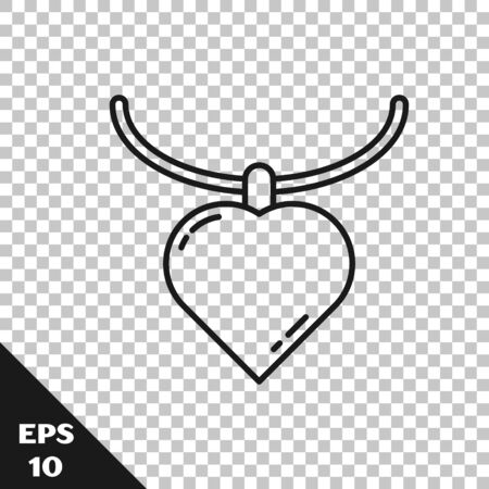 Black line Necklace with heart shaped pendant icon isolated on transparent background. Jewellery decoration. International Happy Women Day. Vector Illustration Vetores