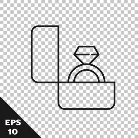 Black line Diamond engagement ring icon isolated on transparent background. Vector Illustration