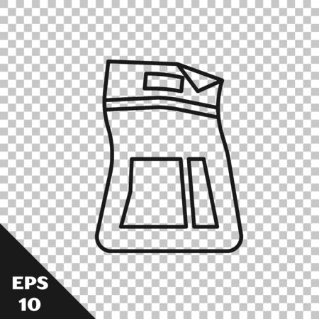 Black line Cement bag icon isolated on transparent background. Vector Illustration