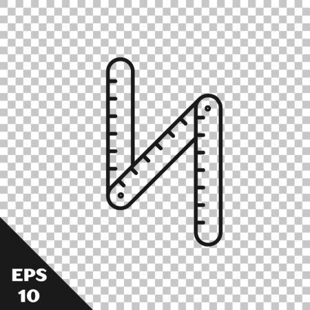 Black line Folding ruler icon isolated on transparent background. Vector Illustration