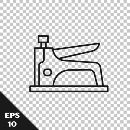 Black line Construction stapler icon isolated on transparent background. Working tool. Vector Illustration