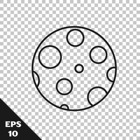 Black line Moon icon isolated on transparent background. Vector Illustration 向量圖像