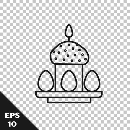 Black line Easter cake and eggs icon isolated on transparent background. Happy Easter. Vector Illustration