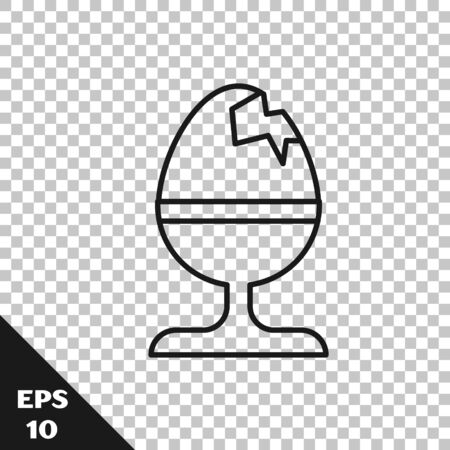 Black line Chicken egg on a stand icon isolated on transparent background. Happy Easter. Vector Illustration