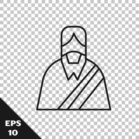 Black line Jesus Christ icon isolated on transparent background. Vector Illustration Illustration