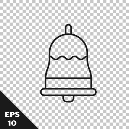 Black line Ringing bell icon isolated on transparent background. Alarm symbol, service bell, handbell sign, notification symbol. Vector Illustration