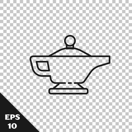 Black line Magic lamp or Aladdin lamp icon isolated on transparent background. Spiritual lamp for wish. Vector Illustration