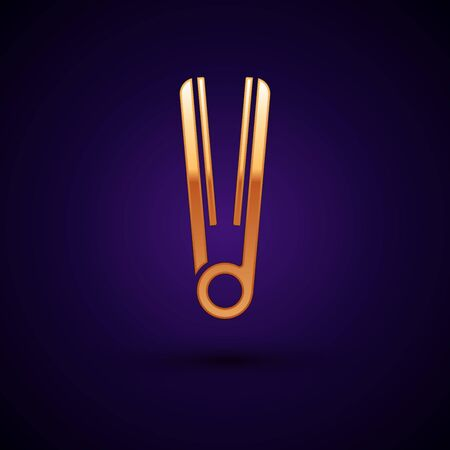 Gold Curling iron for hair icon isolated on dark blue background. Hair straightener icon. Vector Illustration