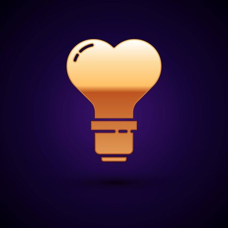 Gold Heart shape in a light bulb icon isolated on dark blue background. Love symbol. Valentine day symbol. Vector Illustration