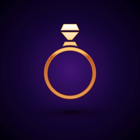 Gold Diamond engagement ring icon isolated on dark blue background. Vector Illustration