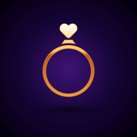 Gold Wedding rings icon isolated on dark blue background. Bride and groom jewelry sign. Marriage symbol. Diamond ring. Vector Illustration Ilustracja