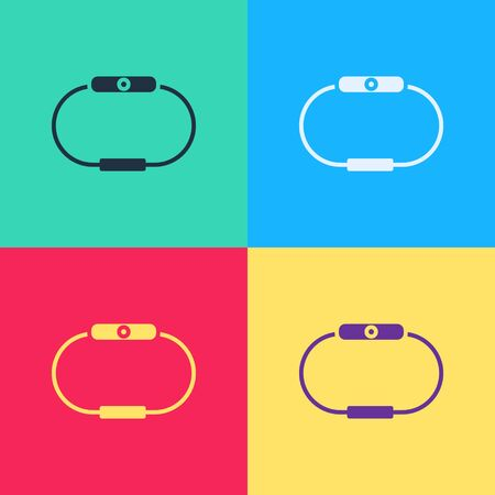 Pop art Smartwatch icon isolated on color background. Vector Illustration Illusztráció
