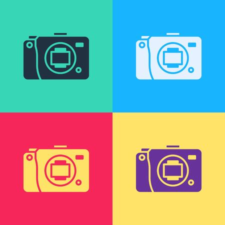 Pop art Mirrorless camera icon isolated on color background. Foto camera icon.  Vector Illustration