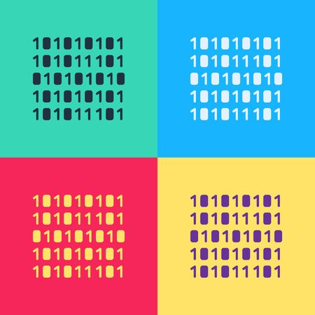 Pop art Binary code icon isolated on color background.  Vector Illustration  イラスト・ベクター素材