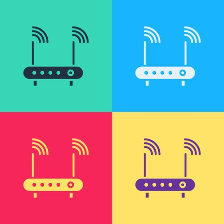 Pop art Router and wifi signal symbol icon isolated on color background. Wireless modem router. Computer technology internet. Vector Illustration