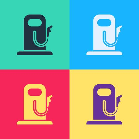 Pop art Petrol or gas station icon isolated on color background. Car fuel symbol. Gasoline pump.  Vector Illustration Ilustracja