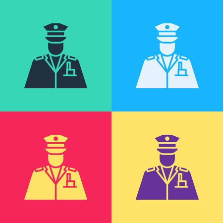 Pop art Police officer icon isolated on color background.  Vector Illustration  イラスト・ベクター素材