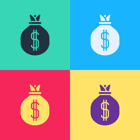 Pop art Money bag icon isolated on color background. Dollar or USD symbol. Cash Banking currency sign.  Vector Illustration